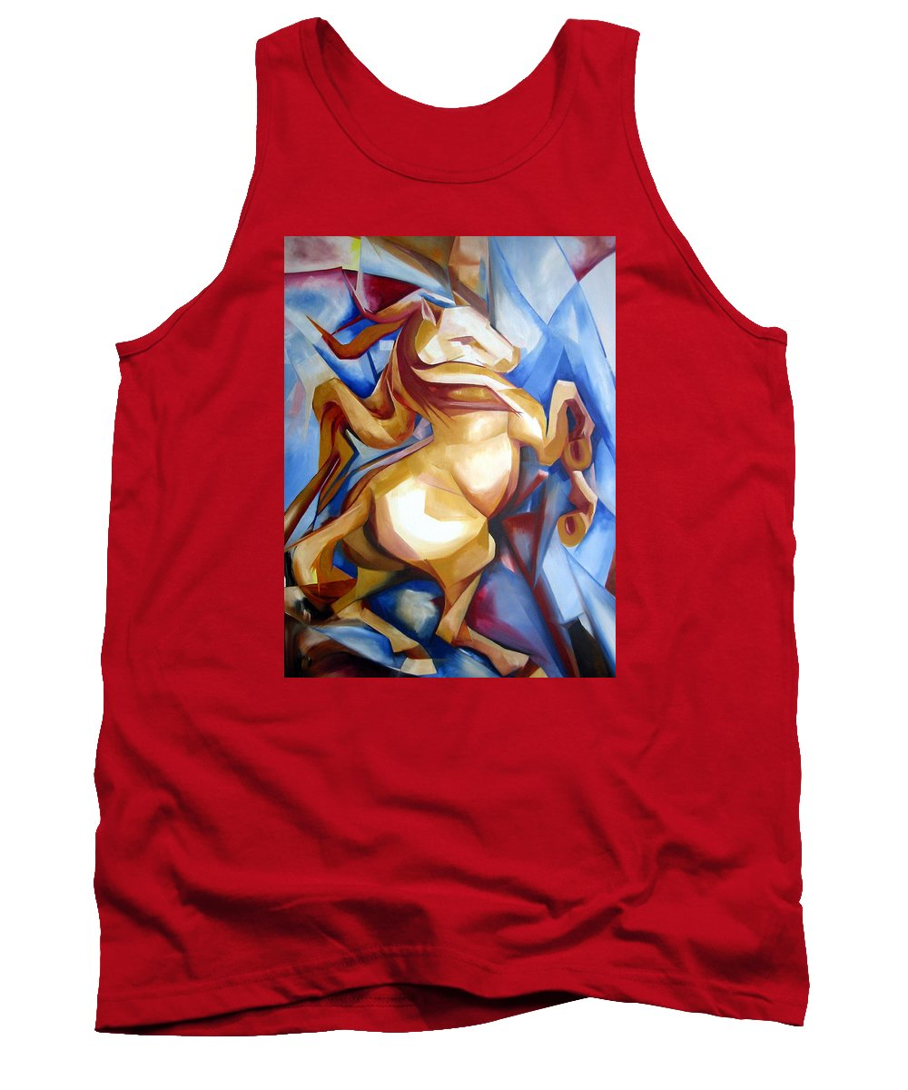 Horse Tank Top featuring the painting Rearing Horse by Leyla Munteanu
