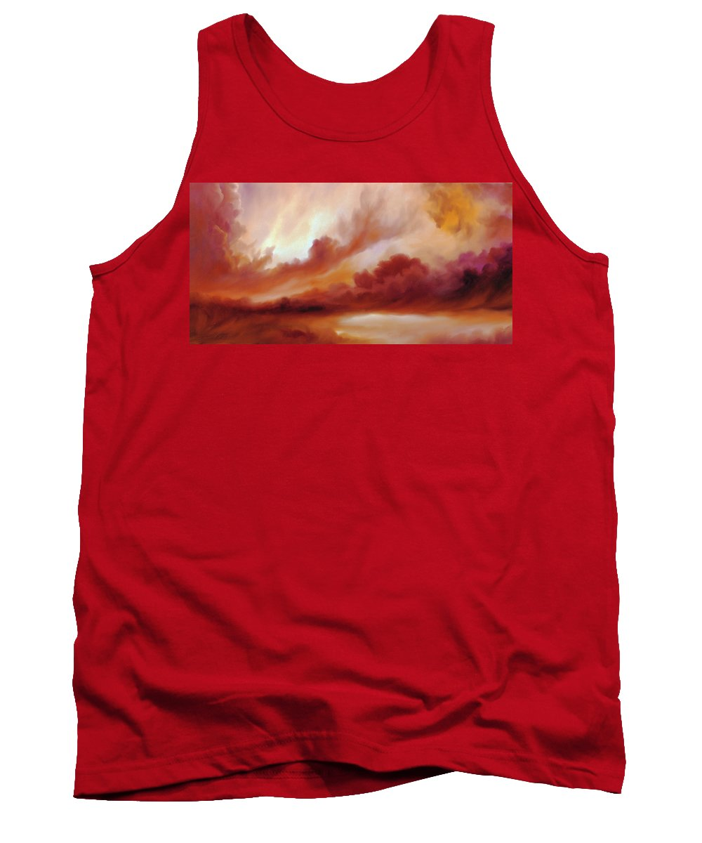 Skyscape Tank Top featuring the painting Receding Storm Sketch IIi by James Christopher Hill