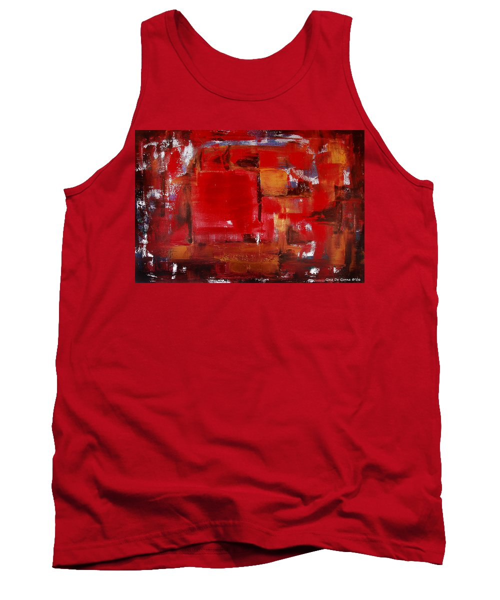Abstract Tank Top featuring the painting Red Abstract by Gina De Gorna