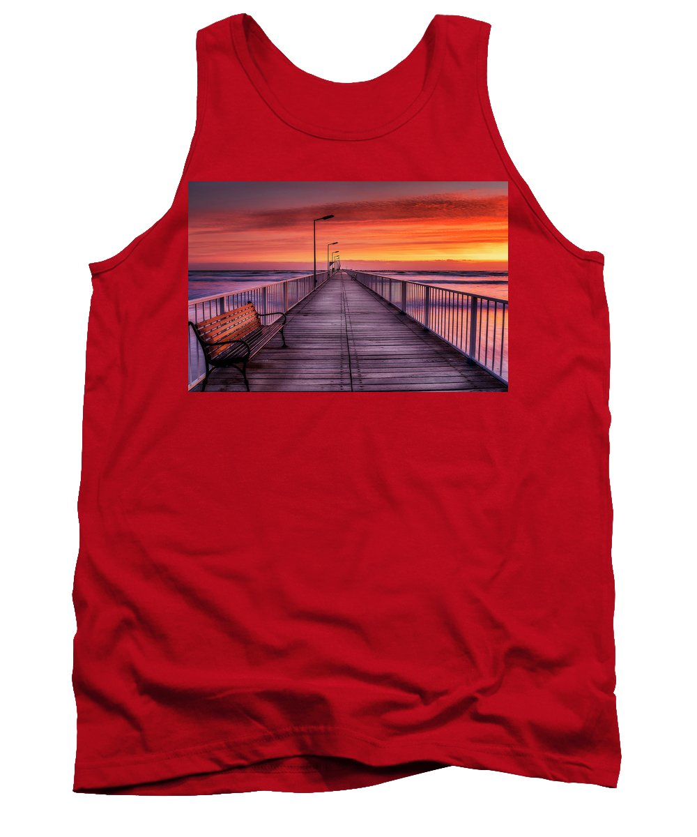 Sunrise Tank Top featuring the photograph Mamaia's Gangway by Adrian Malanca