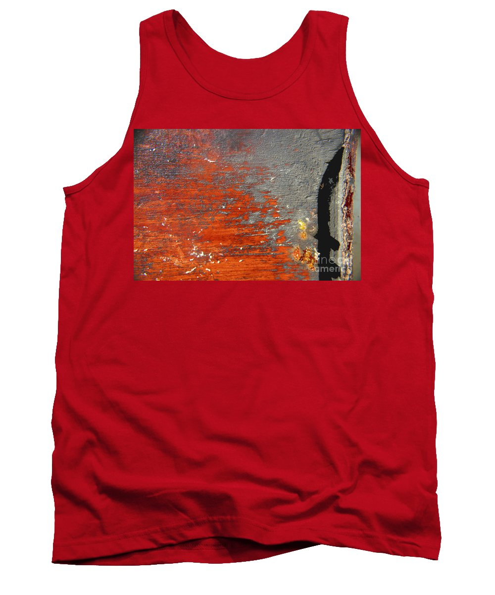Red Tank Top featuring the photograph Red And Grey Abstract by Hana Shalom