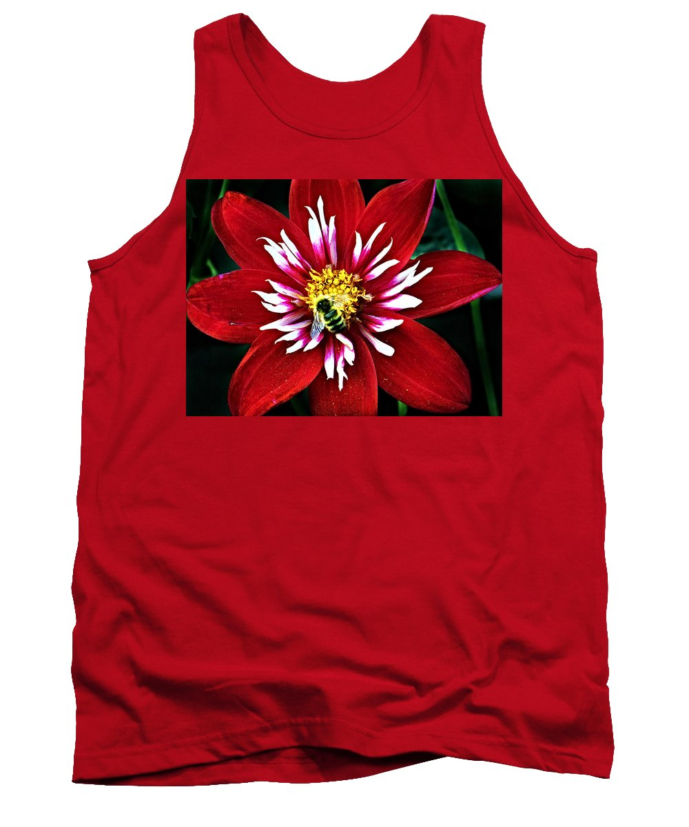 Flower Tank Top featuring the photograph Red And White Flower With Bee by Anthony Jones