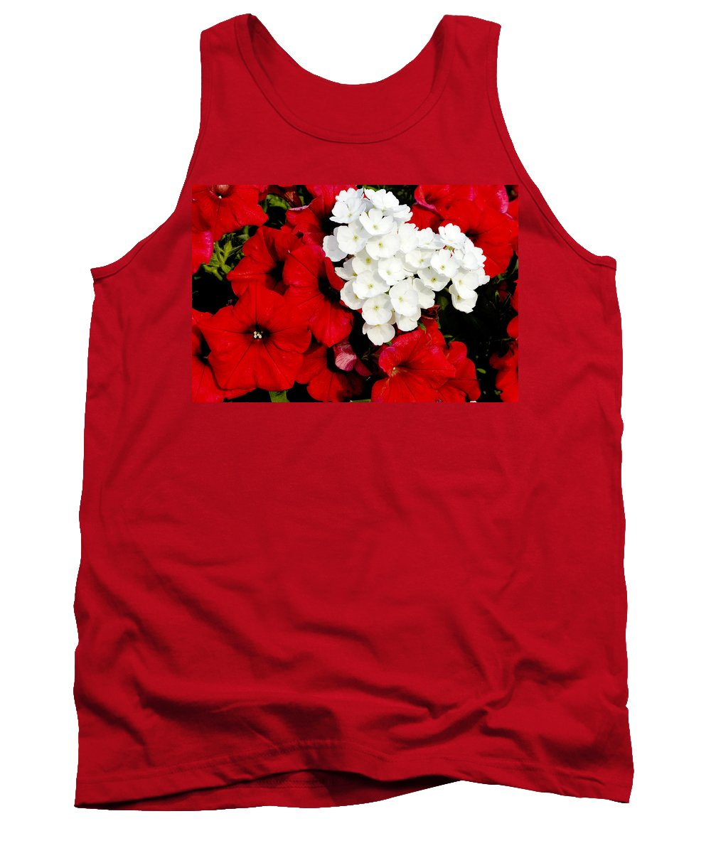 Flowers Tank Top featuring the photograph Red And White by Greg Fortier