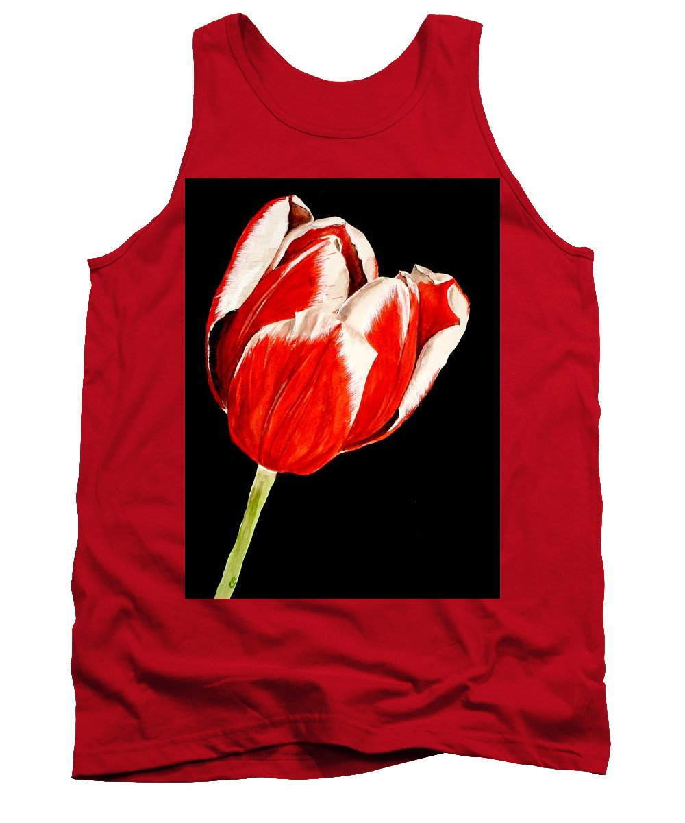 Tulip Painting Tank Top featuring the painting Red And White Tulip by Carol Blackhurst