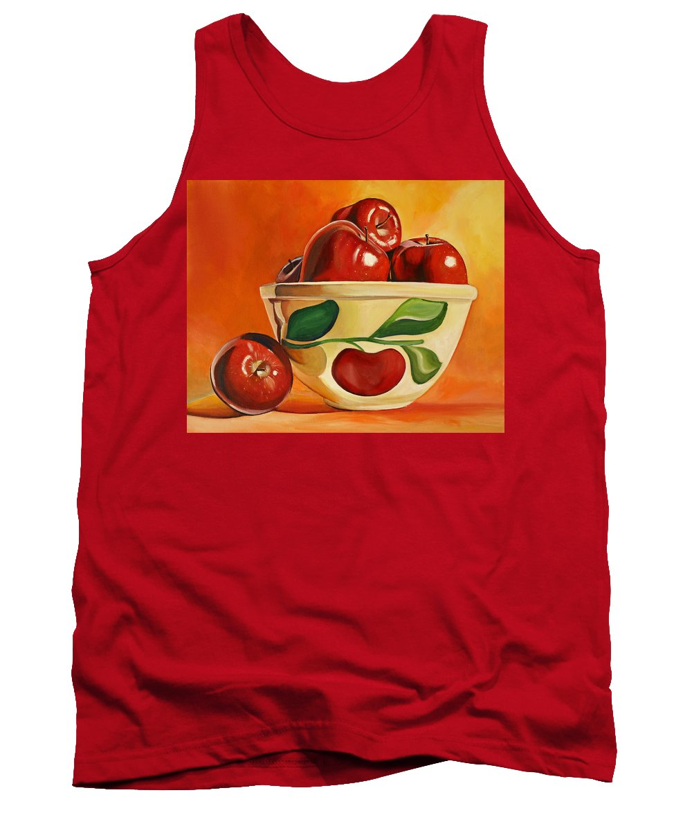 Apples Tank Top featuring the painting Red Apples In Vintage Watt Yellowware Bowl by Toni Grote