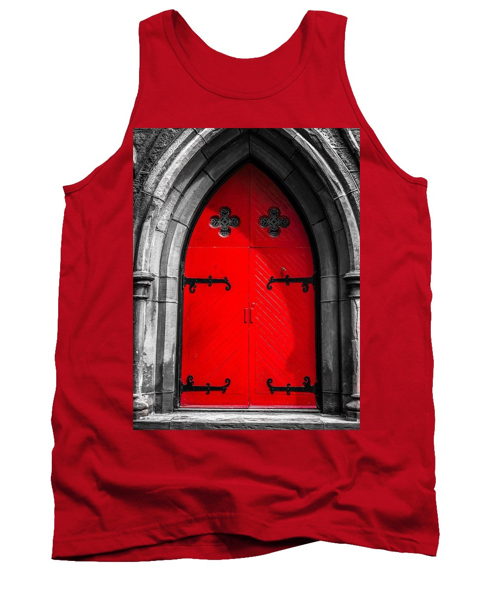Door Tank Top featuring the photograph Red Arched Door by Cate Franklyn