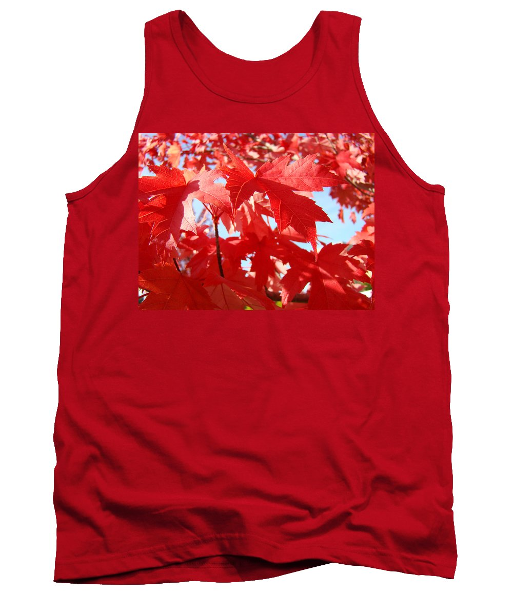 Autumn Tank Top featuring the photograph Red Autumn Leaves Art Prints Canvas Fall Leaves Baslee Troutman by Baslee Troutman