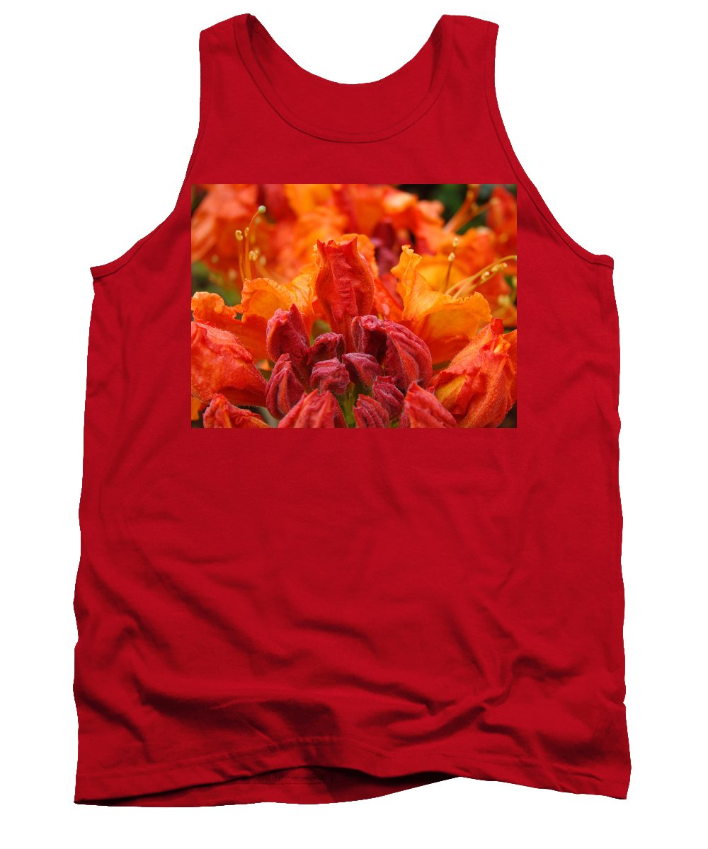 �azaleas Artwork� Tank Top featuring the photograph Red Azaleas Orange Azalea Flowers 9 Floral Giclee Art Prints Baslee Troutman by Baslee Troutman