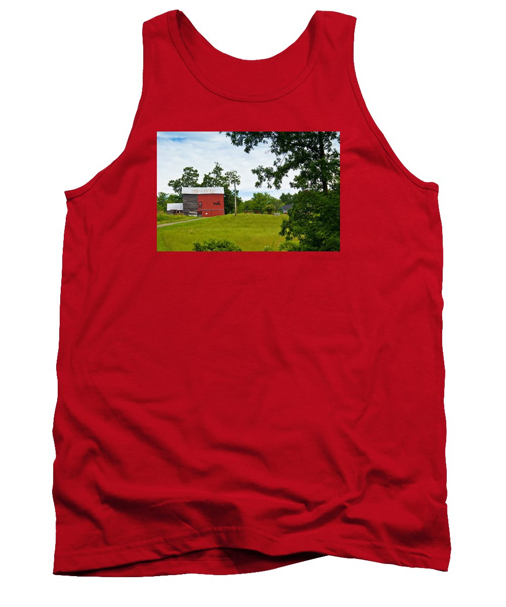New York State Tank Top featuring the photograph Red Barn In Upper New York State. by Lynne Albright