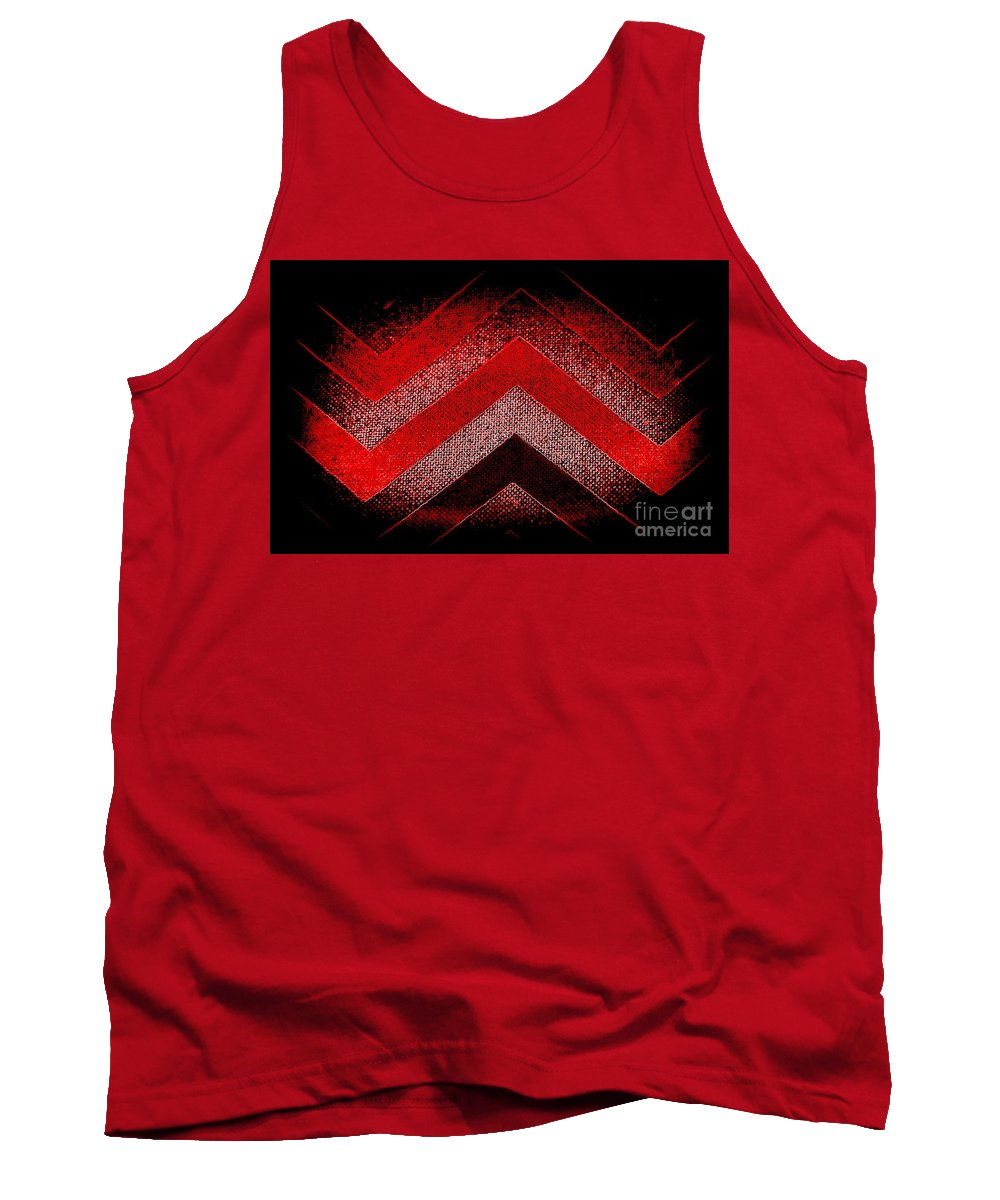 Red Black Chevrons New Red Bold Tank Top featuring the digital art Red Black Chevron by Len-Stanley Yesh