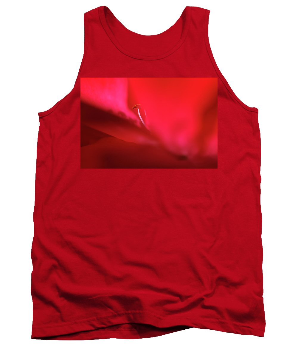Red Tank Top featuring the photograph Red Blossom 1 by Dubi Roman