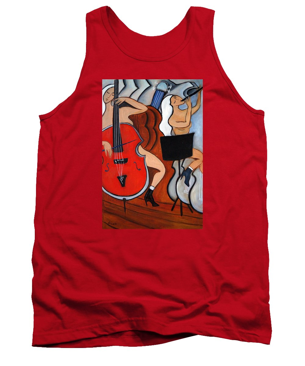 Cubic Abstract Tank Top featuring the painting Red Cello 2 by Valerie Vescovi