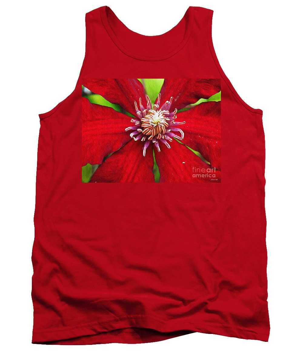 Clematis Tank Top featuring the photograph Red Clematis by Sarah Loft