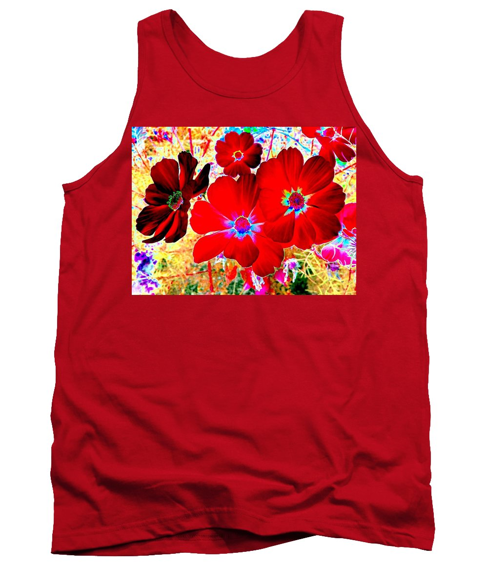 Red Cosmos Tank Top featuring the digital art Red Cosmos by Will Borden