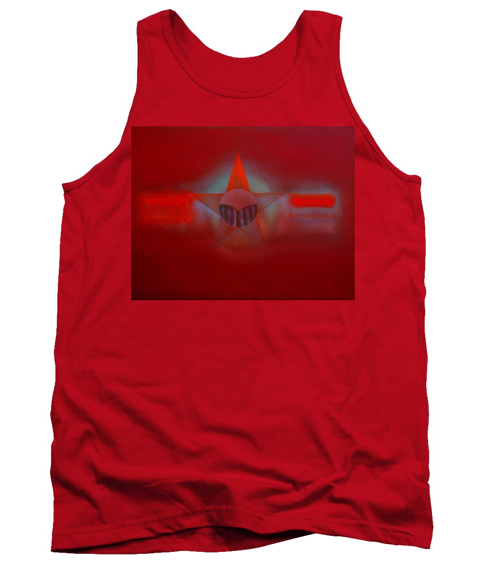 Usaaf Insignia And Idealised Landscape In Union Tank Top featuring the painting Red Dawn by Charles Stuart