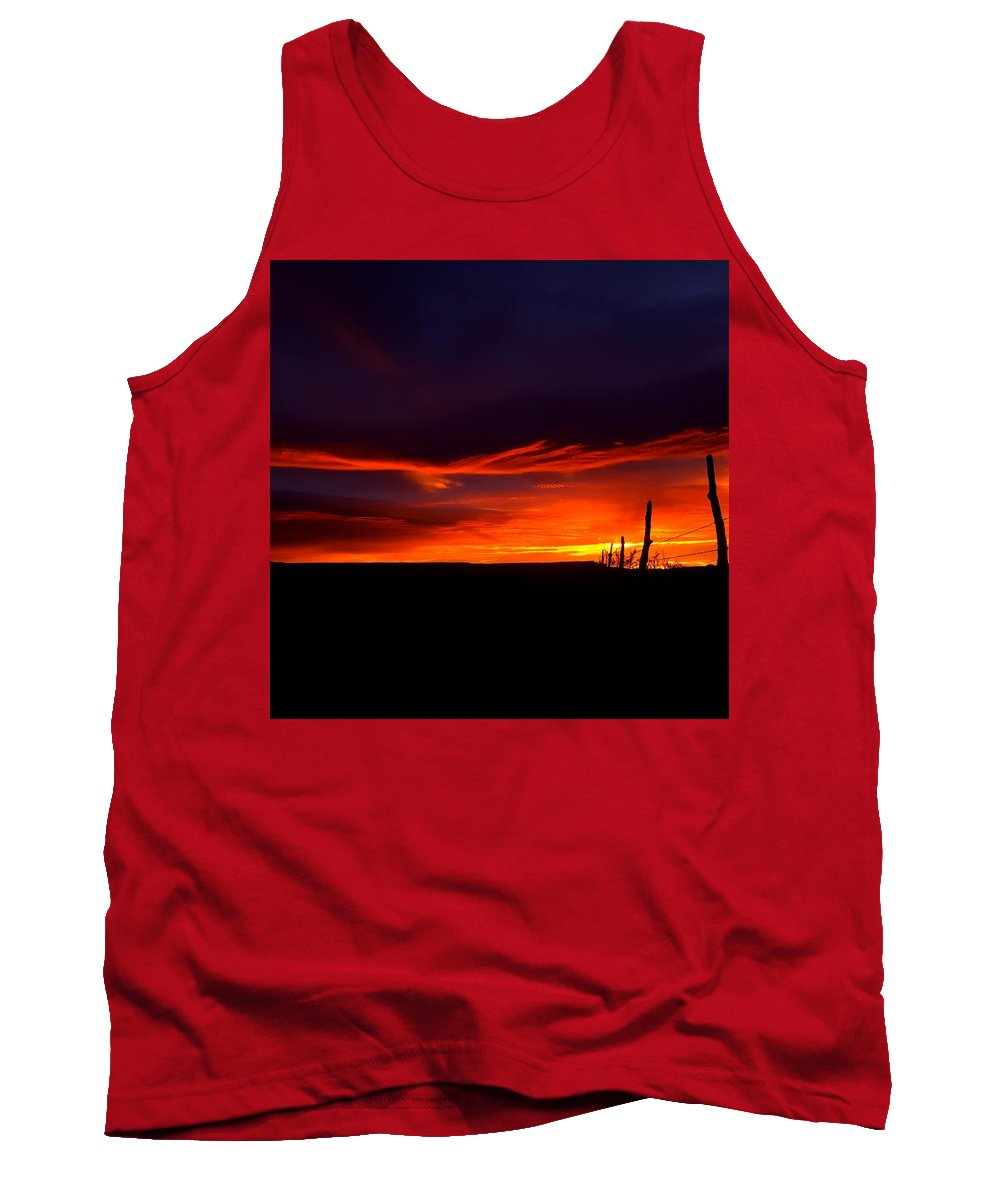 Landscape/ Sunrise Tank Top featuring the photograph Red Eagle In The Clouds by Rudy Gallegos