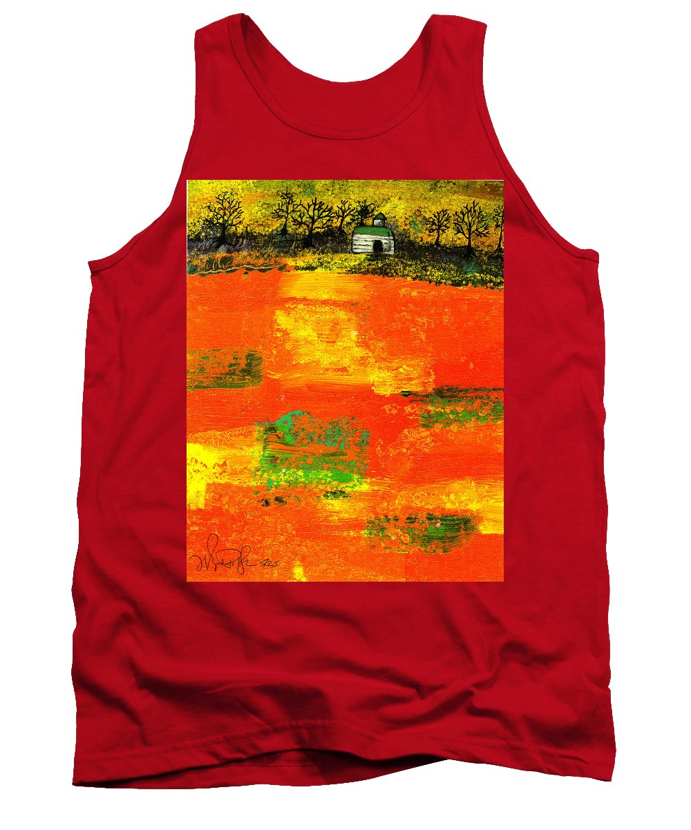 Rural Tank Top featuring the painting Red Fields by Wayne Potrafka