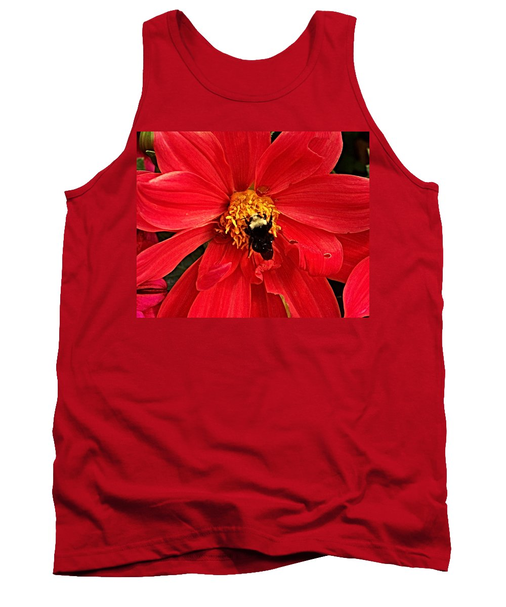 Flower Tank Top featuring the photograph Red Flower And Bee by Anthony Jones