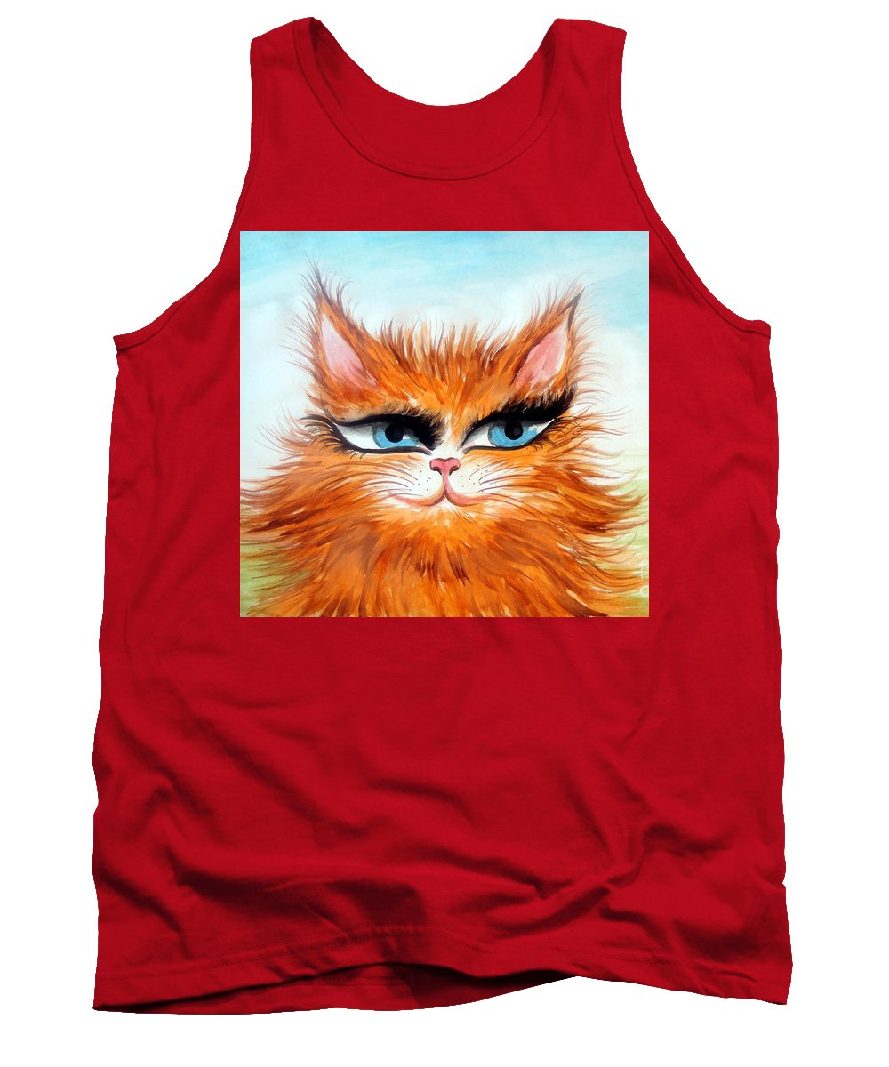 Sofia Tank Top featuring the painting Red-haired Sofia The Cat by Sofia Metal Queen