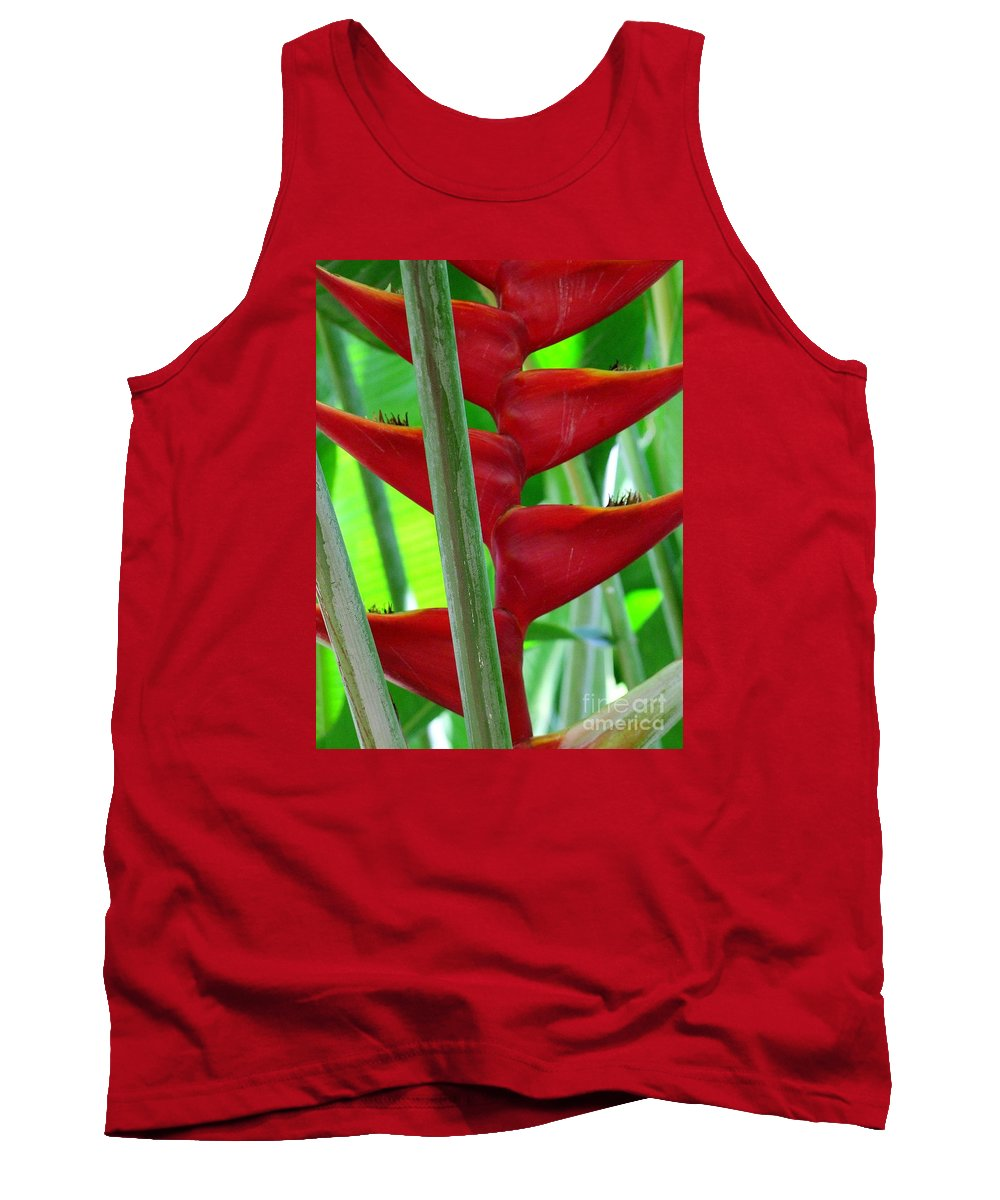 Red Flowers Tank Top featuring the photograph Red Heliconia by Mary Deal
