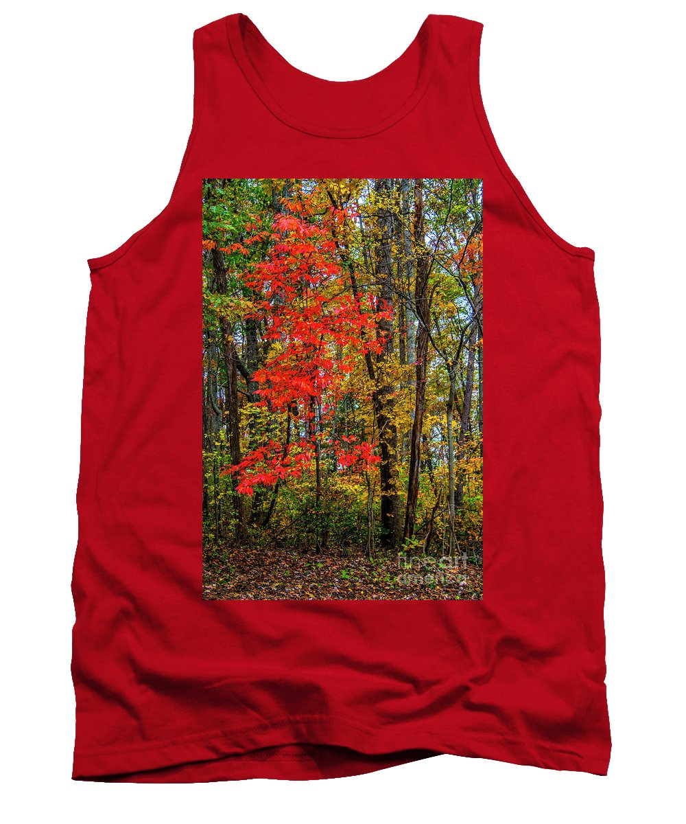 Tree Tank Top featuring the photograph Red Leaves Of Autumn by Roberta Bragan