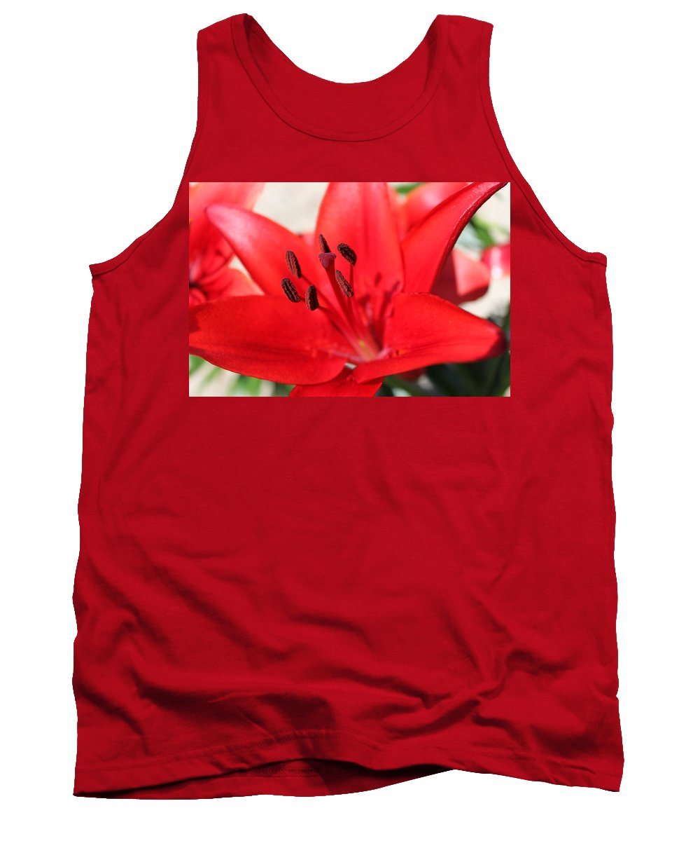 Lilly Tank Top featuring the photograph Red Lilly by Lauri Novak
