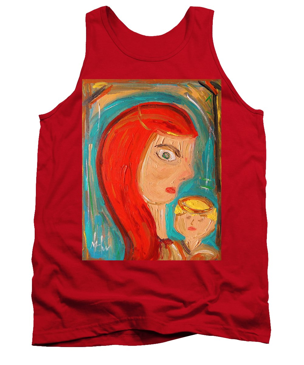 Red Tank Top featuring the painting Red Madonna by Mary Carol Williams