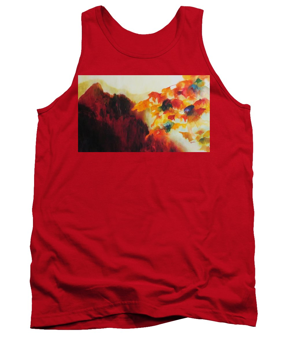 Landscape Tank Top featuring the painting Red Mountain by Peggy Guichu