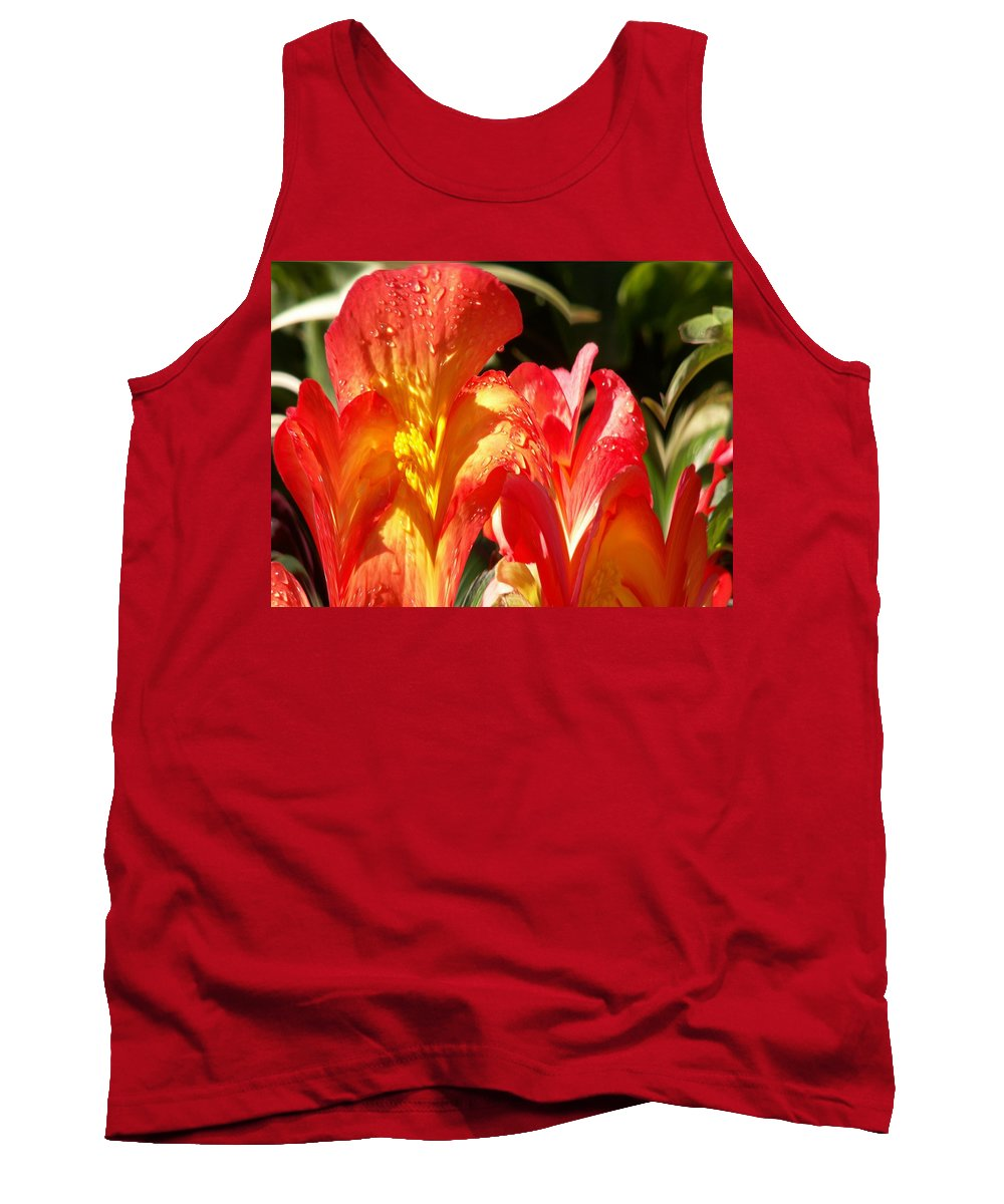 Flowers Tank Top featuring the photograph Red N Yellow Flowers 2 by Tim Allen