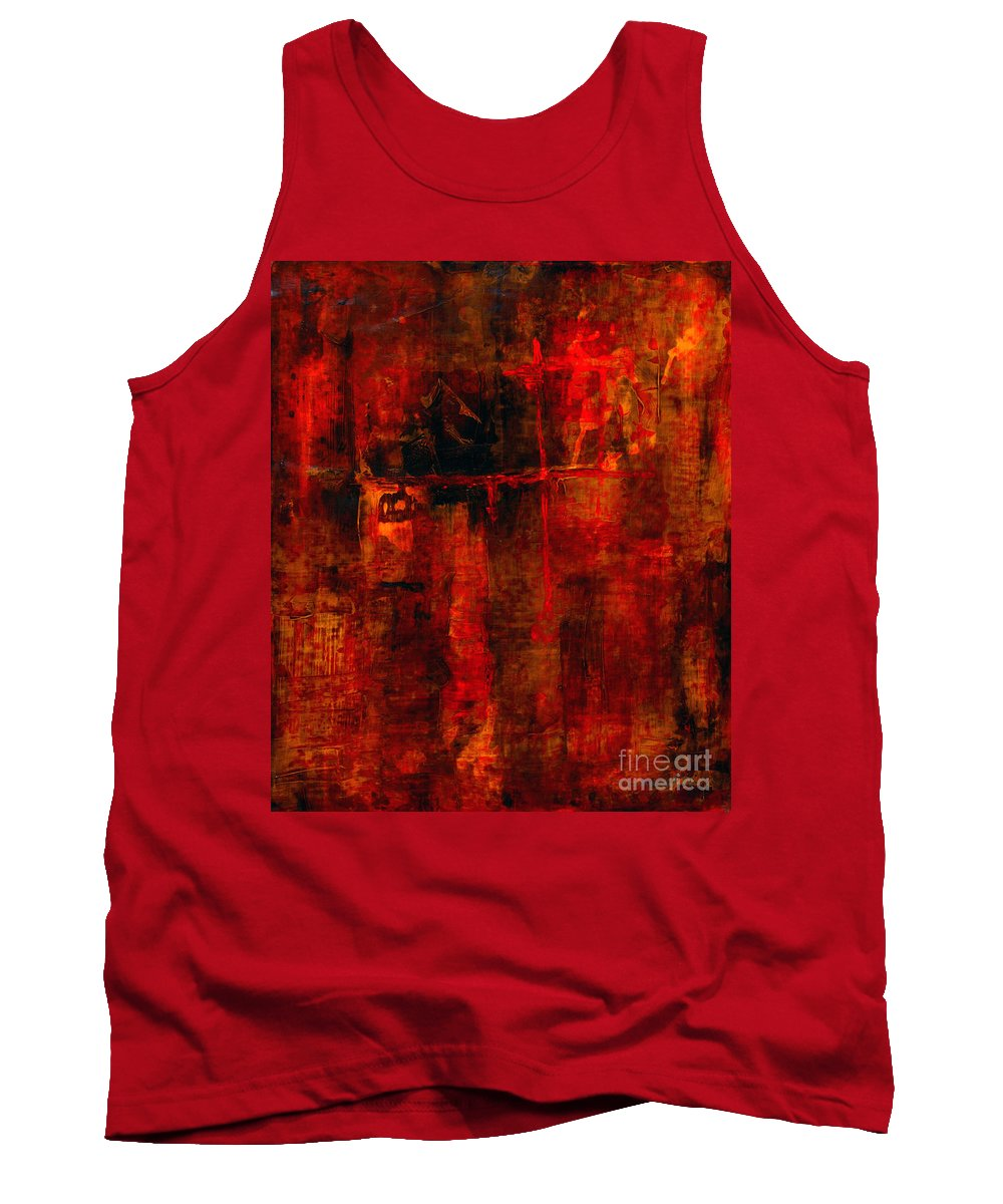 Abstract Painting Tank Top featuring the painting Red Odyssey by Pat Saunders-White