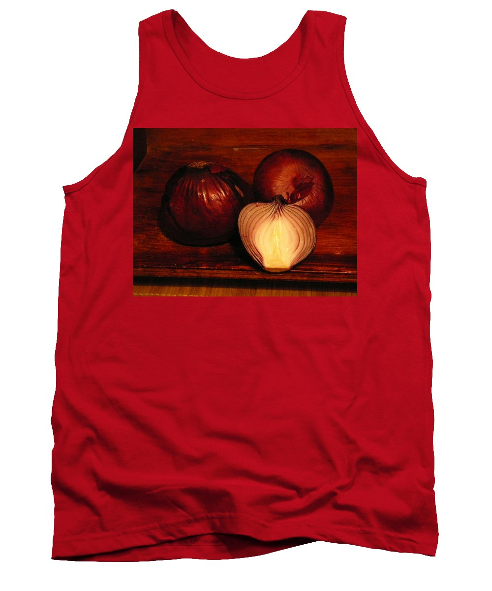 Red Onions Tank Top featuring the photograph Red Onions by Inna Podolska