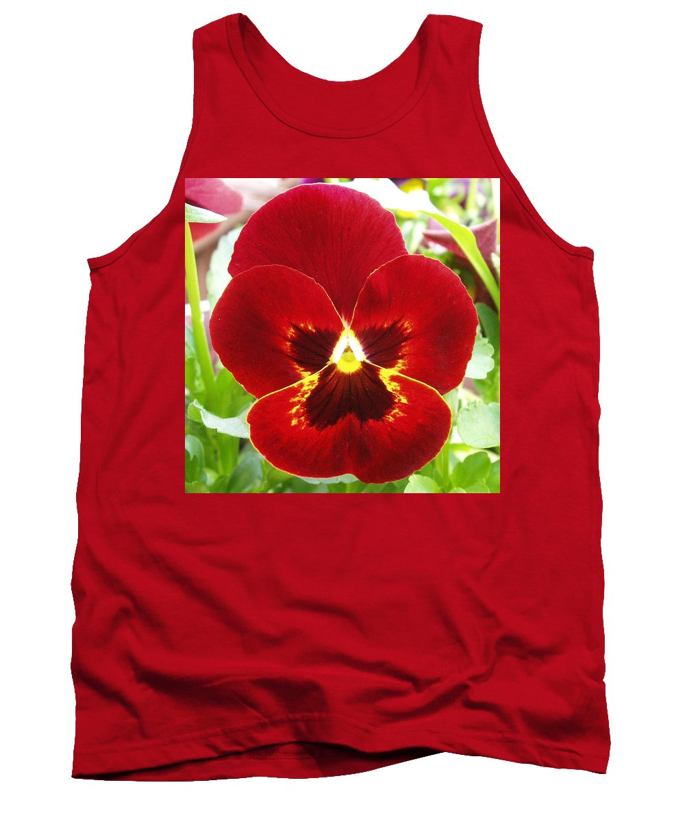 Red Tank Top featuring the photograph Red Pansy by Nancy Mueller