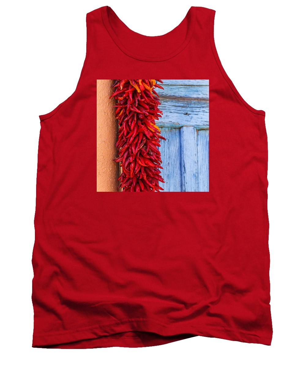 Steven Bateson Tank Top featuring the photograph Red Peppers And Blue Door by Steven Bateson