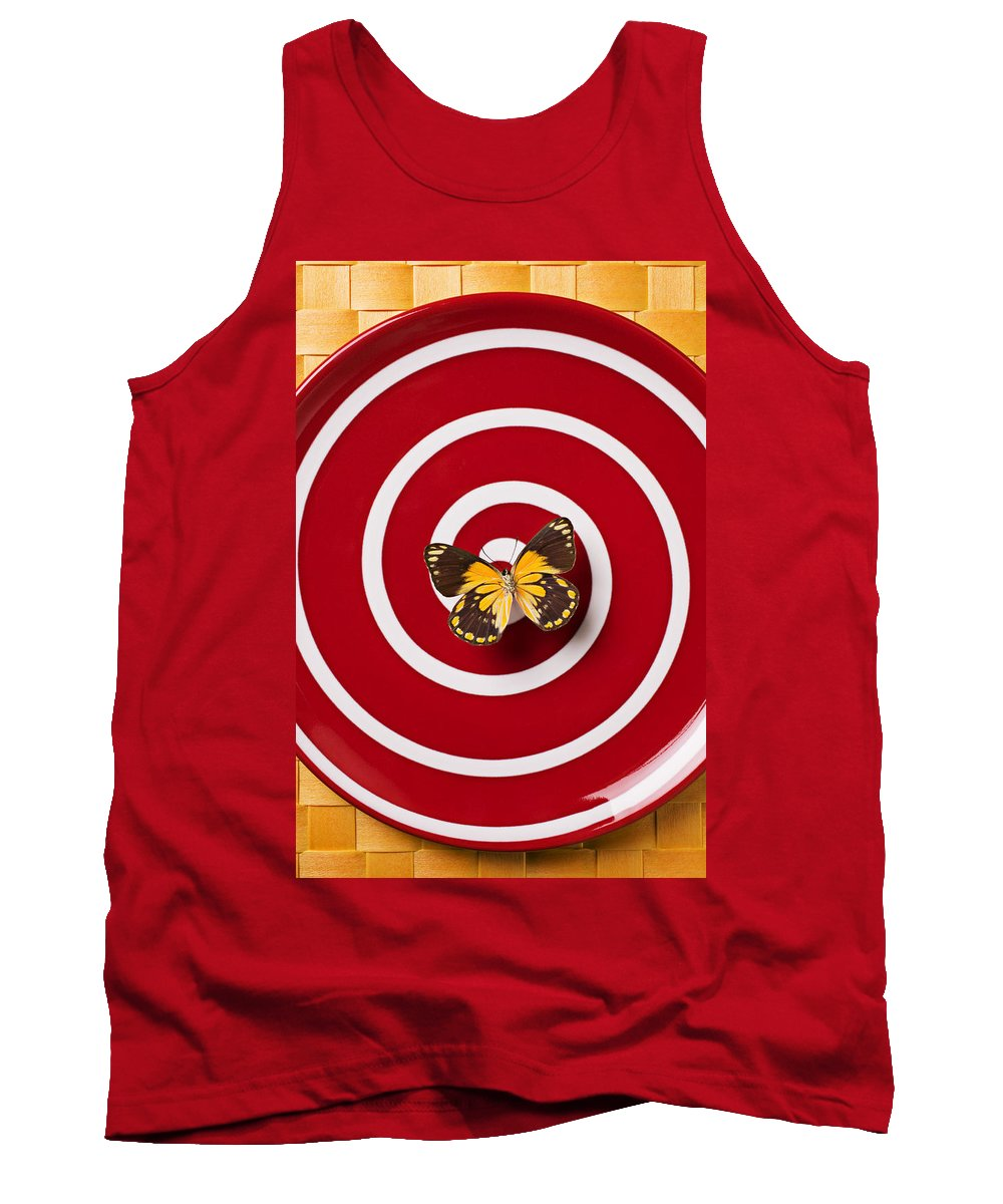 Butterfly Tank Top featuring the photograph Red Plate And Yellow Black Butterfly by Garry Gay