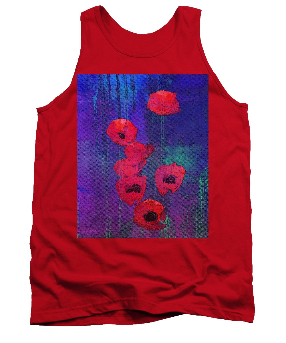 Red Poppies Tank Top featuring the mixed media Red Poppies by I'ina Van Lawick