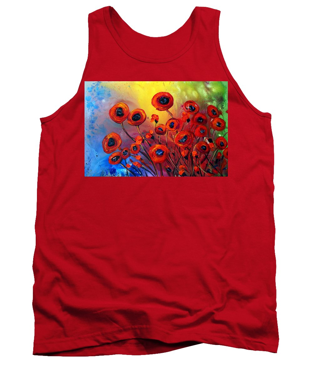 Flowers Tank Top featuring the painting Red Poppies In Rain by Luiza Vizoli
