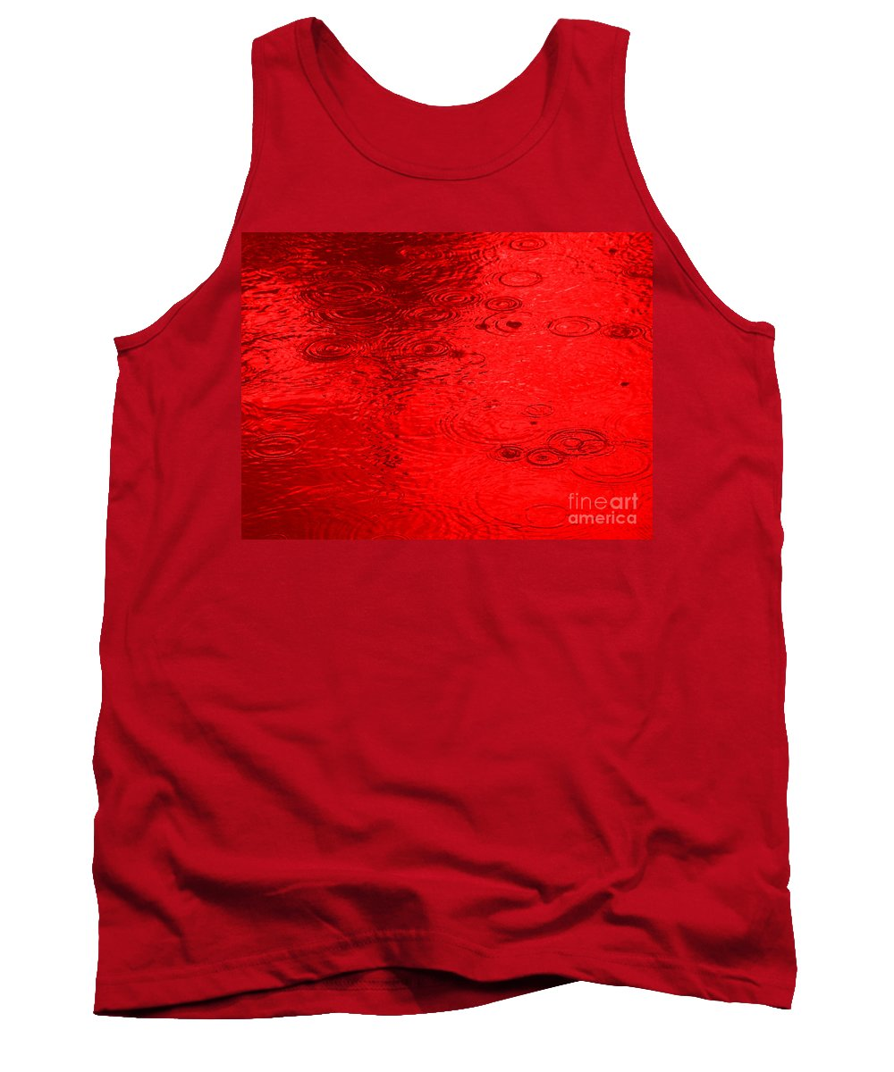 Red Rain Droplets Tank Top featuring the painting Red Rain Droplets by R Muirhead Art