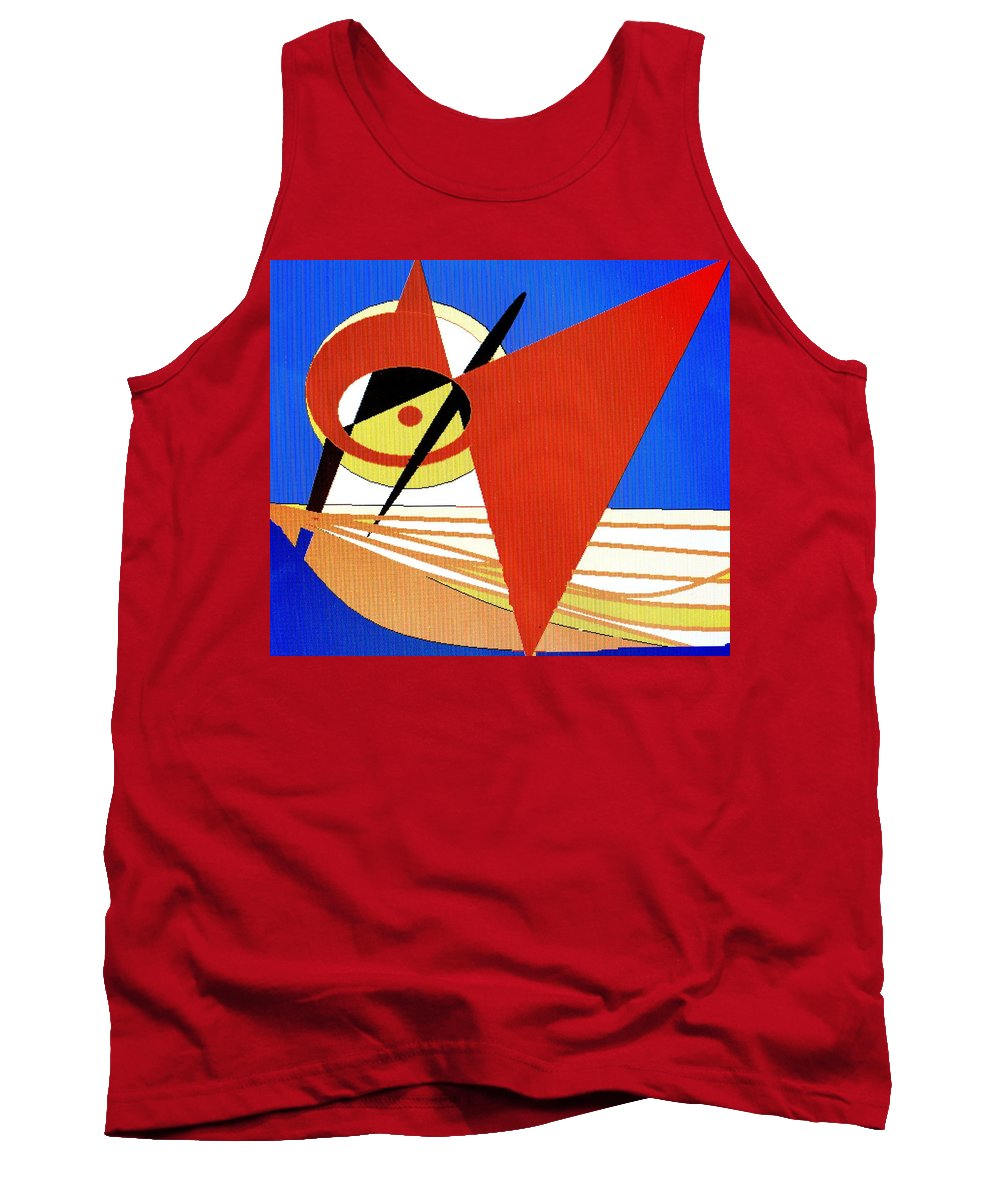 Boat Tank Top featuring the digital art Red Sails In The Sunset by Ian MacDonald