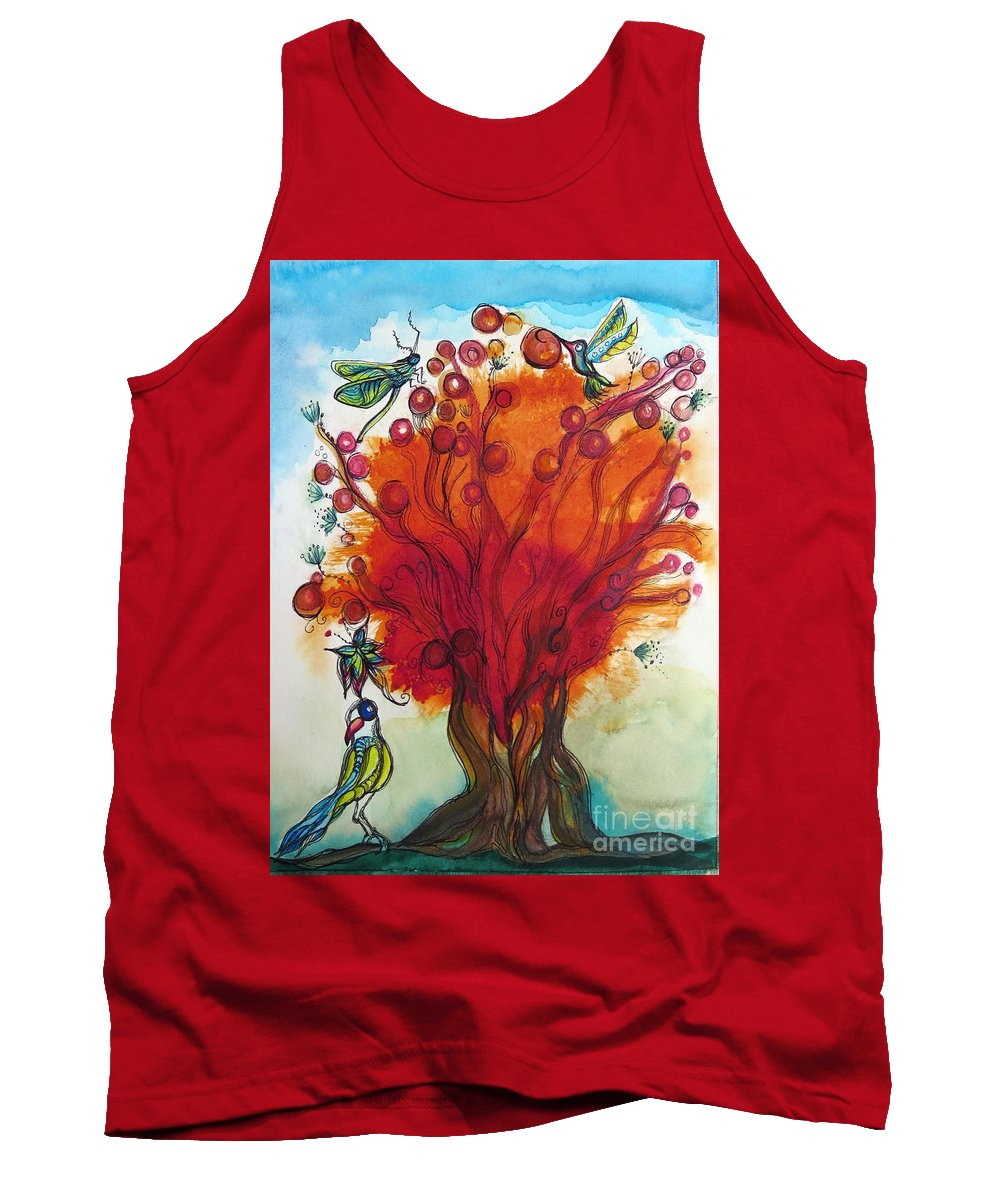 Red Tree Tank Top featuring the mixed media Red Tree And Friends by Paulette Boudreau