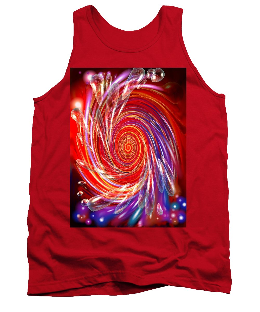 Red Tank Top featuring the digital art Red Twirl by Natalie Holland