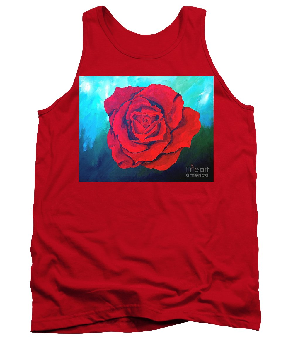 Red Rose Deep Red Rose 3d Ice Rose Tank Top featuring the painting Red Velvet by Herschel Fall