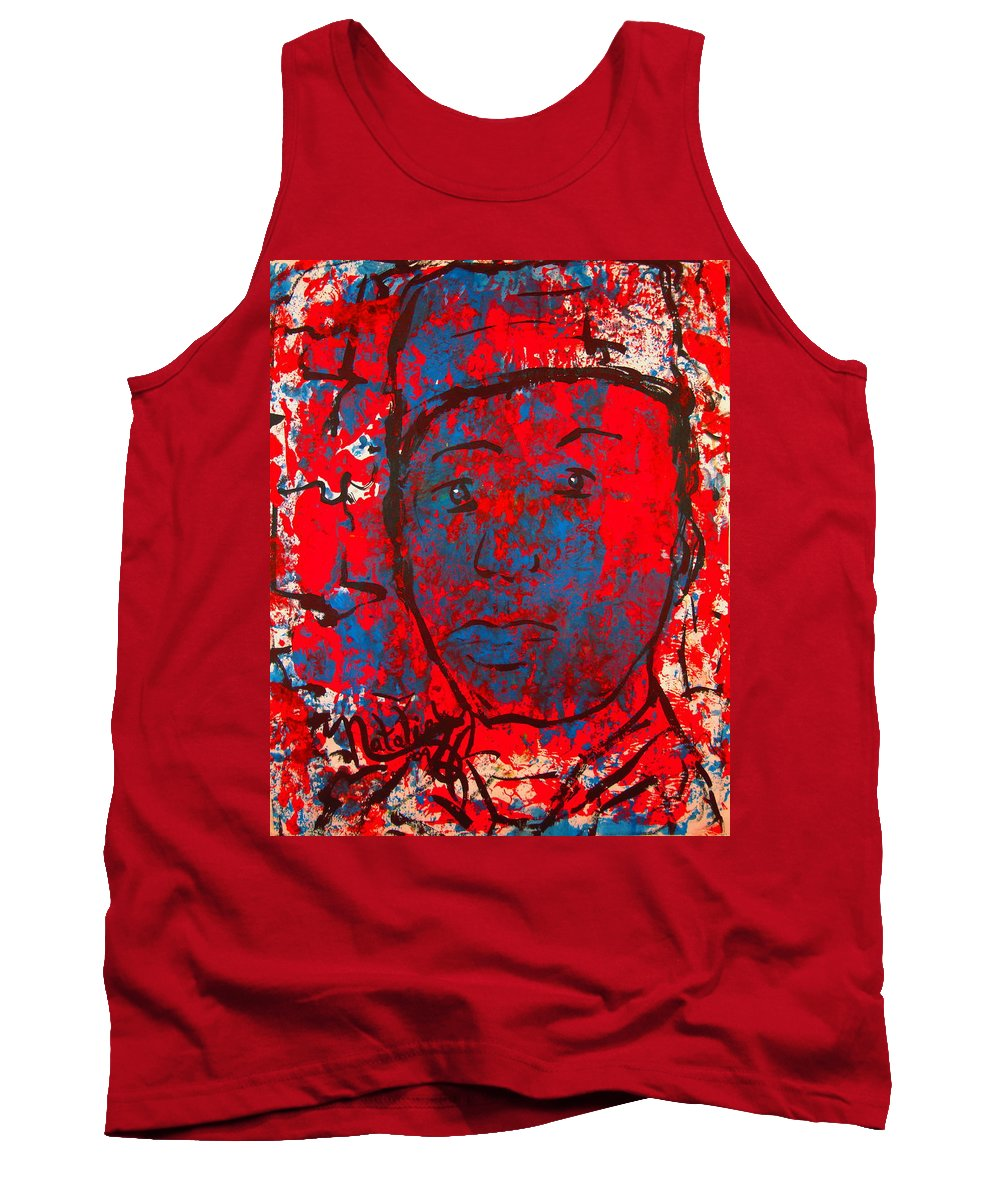 Man Tank Top featuring the painting Red White And Blue by Natalie Holland