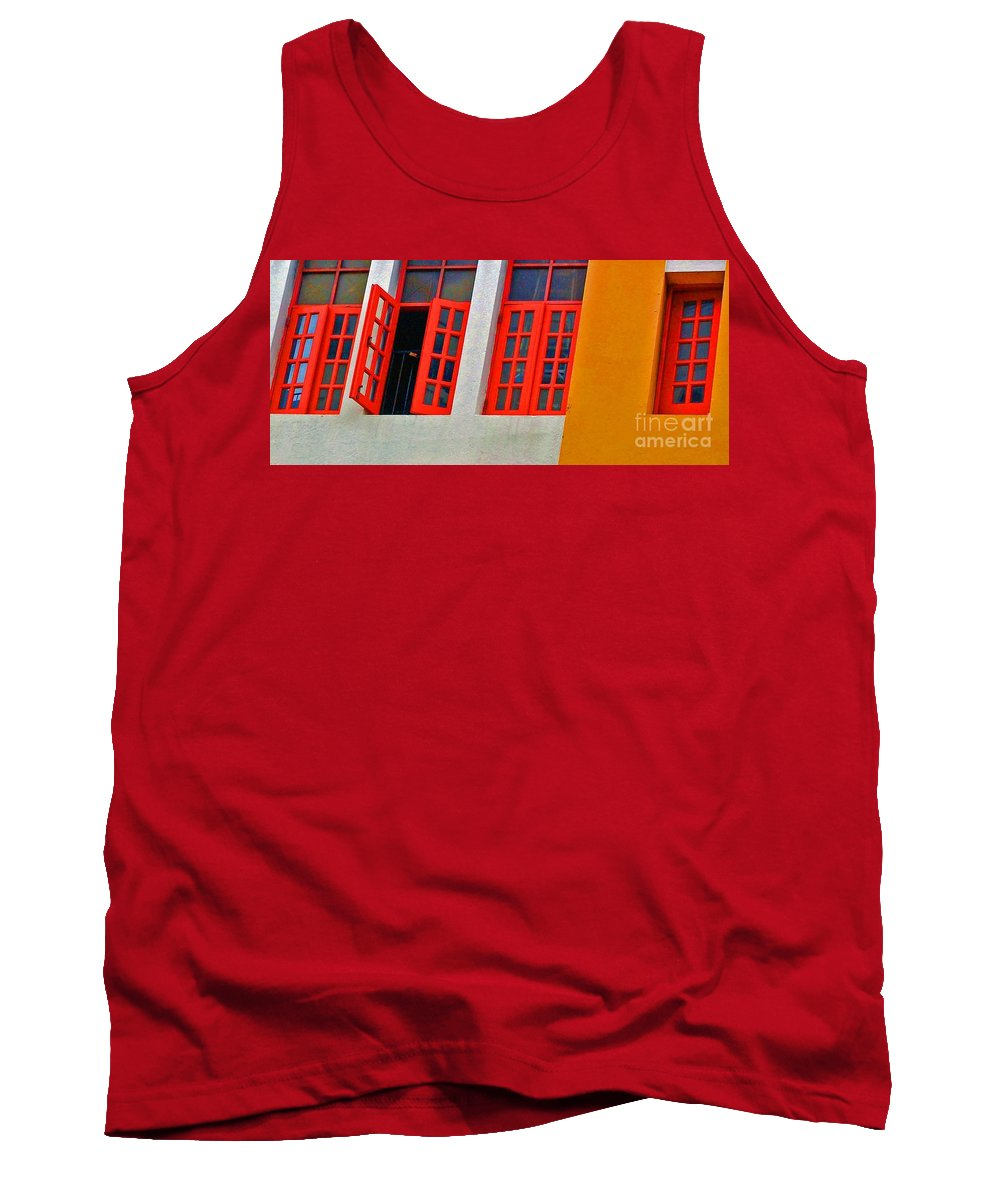 Windows Tank Top featuring the photograph Red Windows by Debbi Granruth