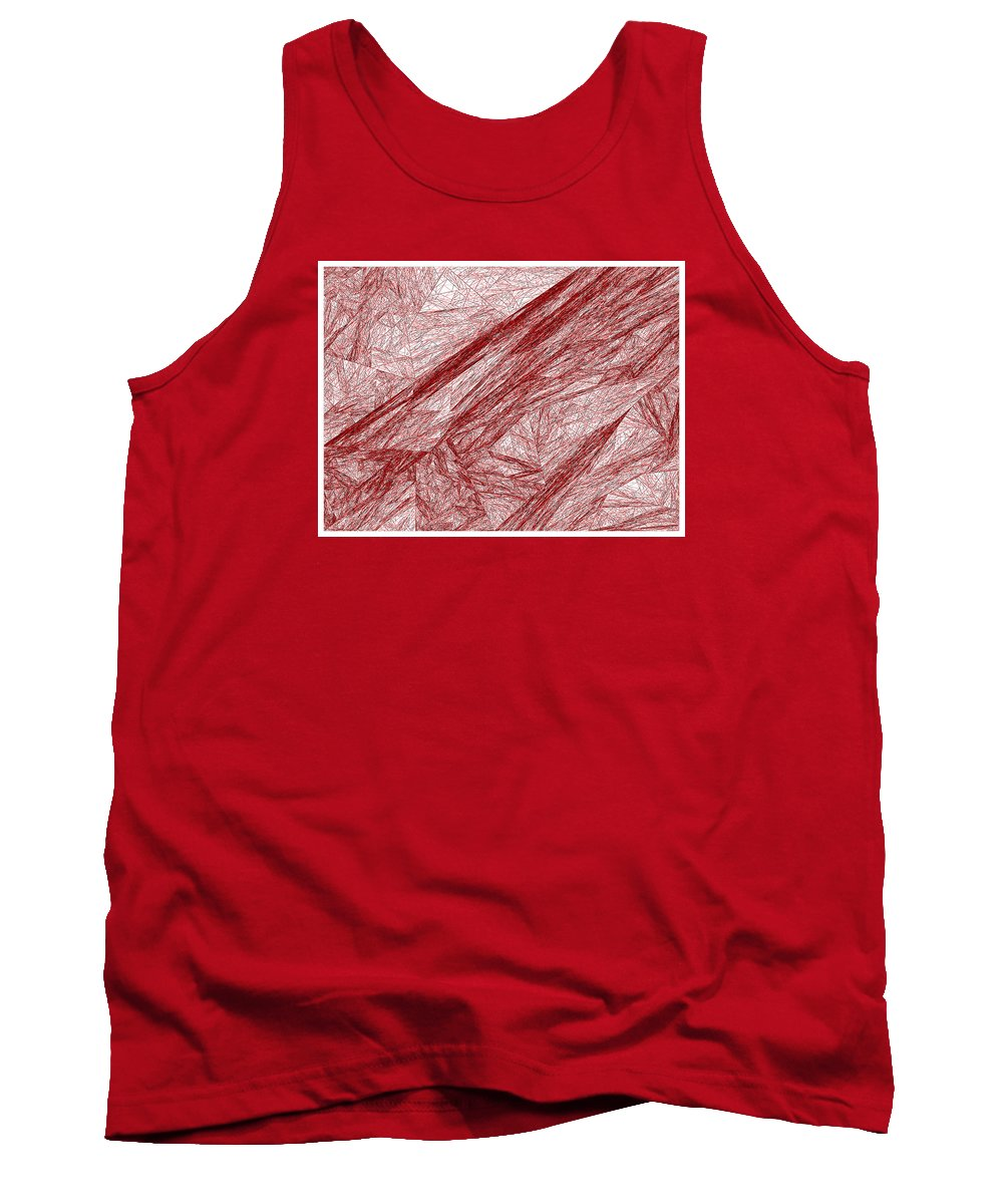 Rithmart Red Abstract Nested Triangles Recursion Recursive Iterative Nature White Background Lines Shades Drawing Trees Rocks Stones Landscape Organic Growth Crystal Branches Wood Cave Tank Top featuring the digital art Red.289 by Gareth Lewis