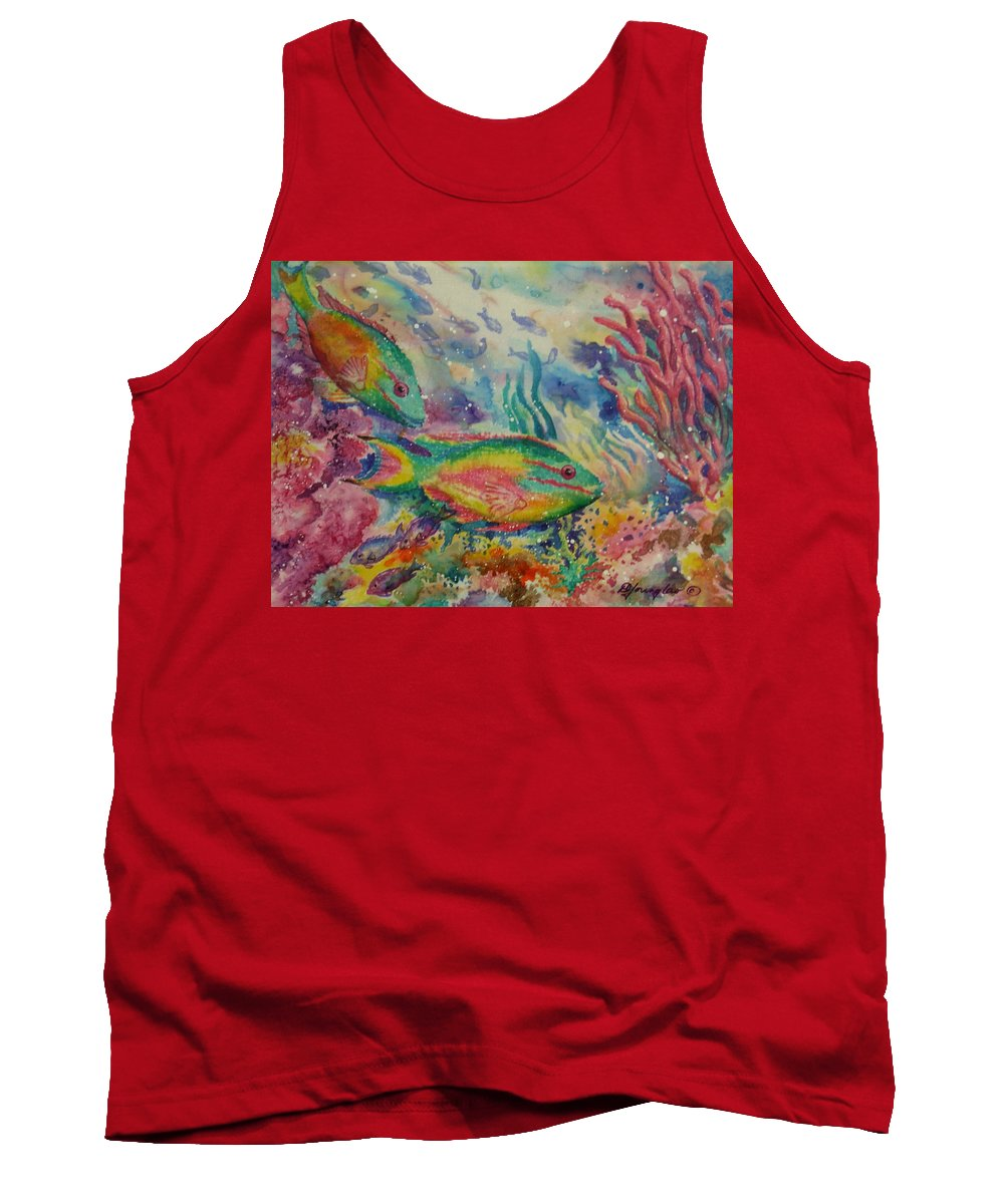 Fish Tank Top featuring the painting Redband Parrotfish by Deborah Younglao