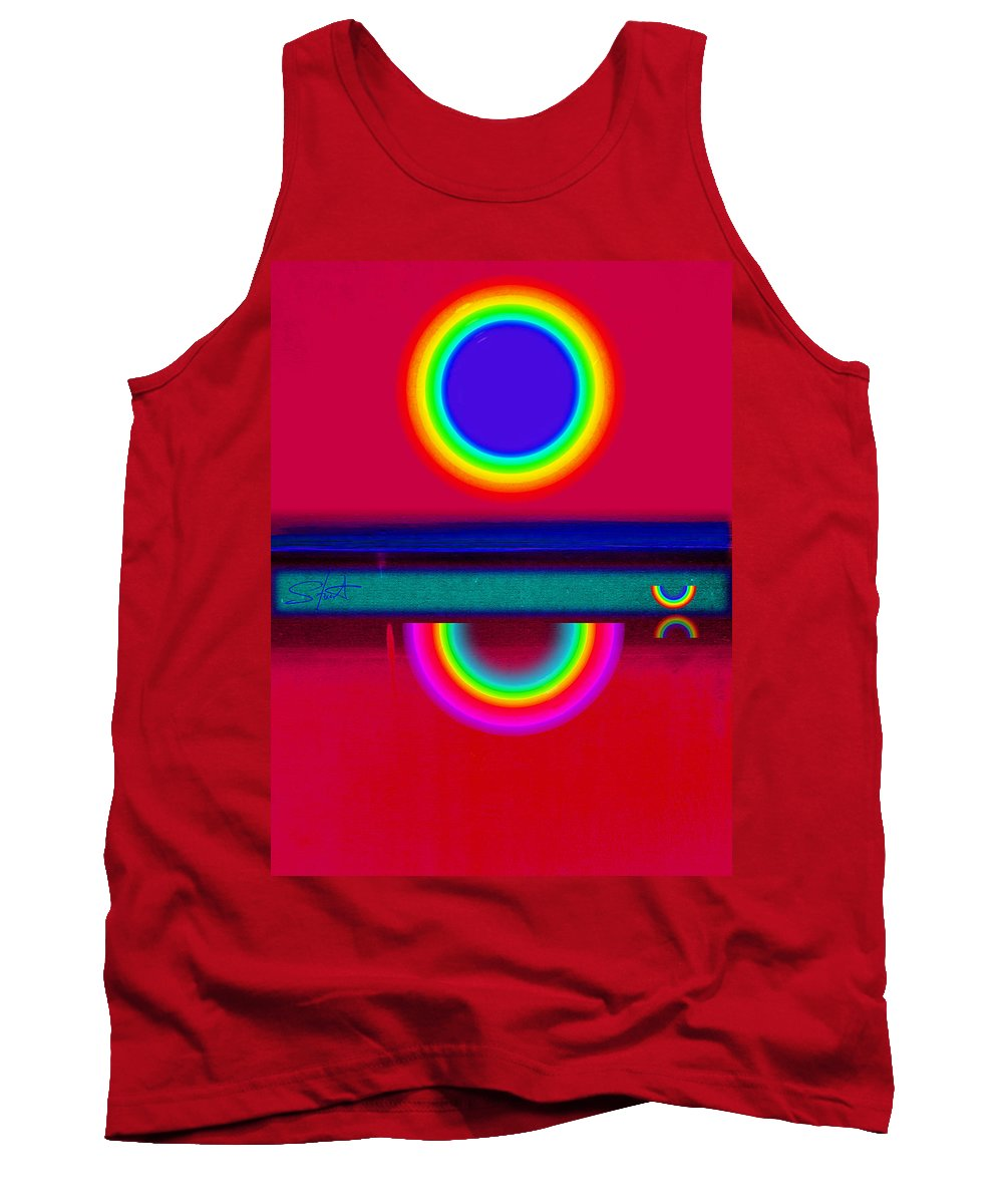 Reflections Tank Top featuring the painting Reflectins On A Sunset by Charles Stuart