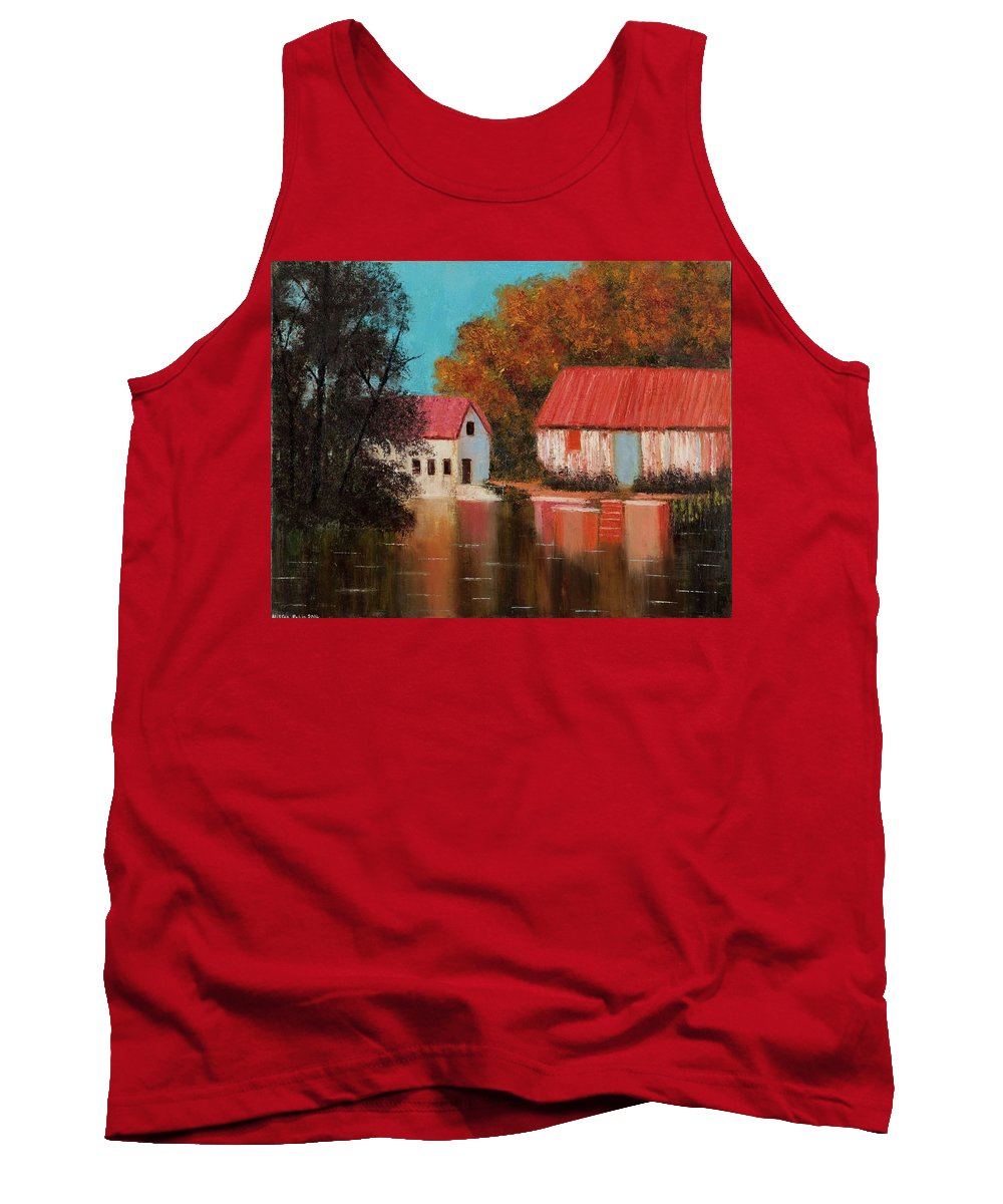 Landscape Tank Top featuring the painting Reflections by Nissan Rabin