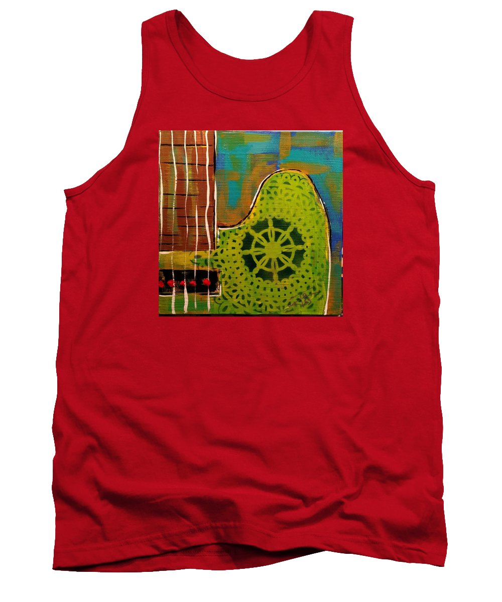 Guitar Tank Top featuring the painting Reverb by James Loss
