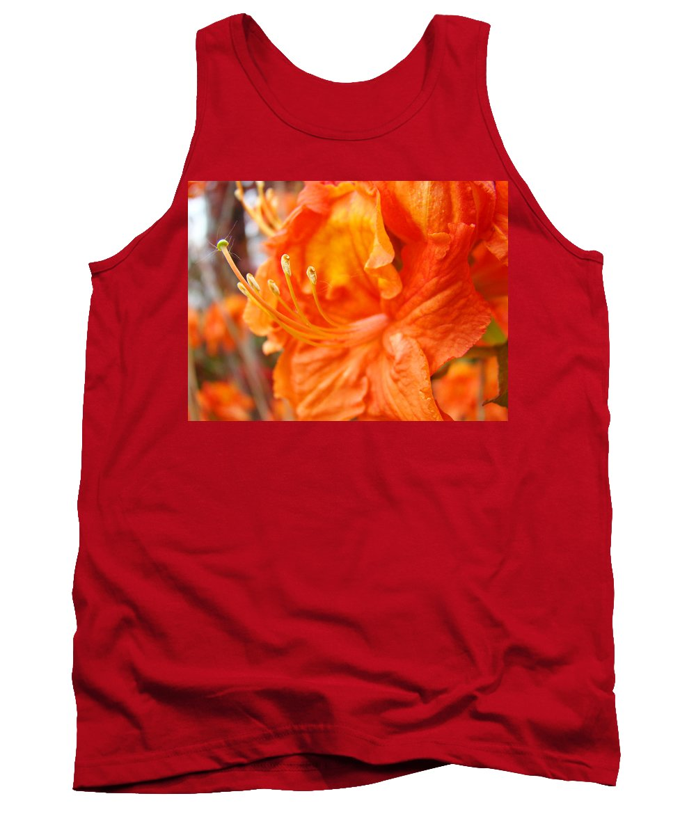 Rhodie Tank Top featuring the photograph Rhodies Art Prints Orange Rhododendron Flowers Baslee Troutman by Baslee Troutman