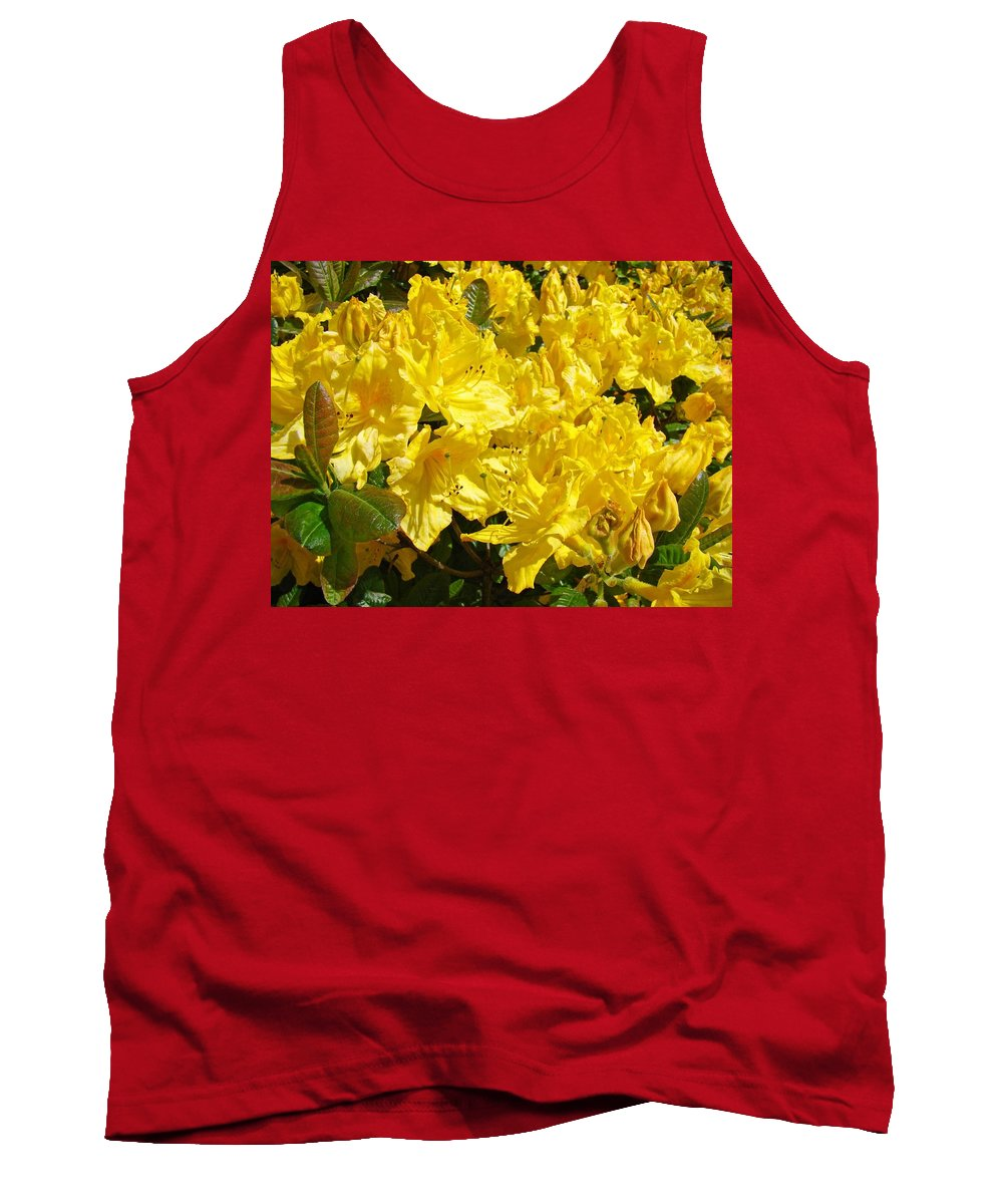 Rhodie Tank Top featuring the photograph Rhodies Yellow Rhododendrons Art Prints Baslee Troutman by Baslee Troutman